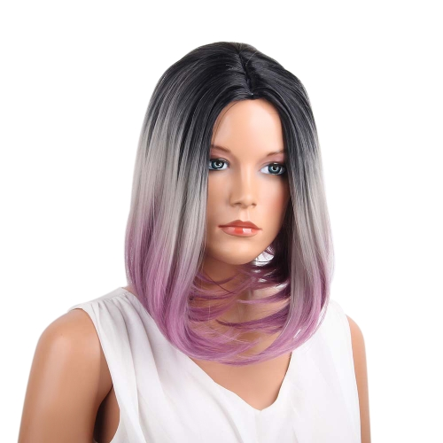 "1pc 14 ""peluca recta corta Bob Gradient 3 coloreada negra blanca púrpura Cosplay Hair fibra sintética a prueba de calor"