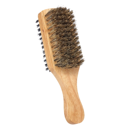Men's Beard Brush Double-sided Facial Hair Brush Shaving Comb Male Mustache Brush Solid Wood Handle Optional Size