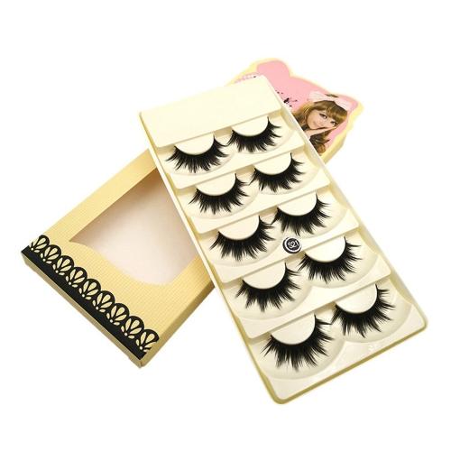 5 Pairs False Eyelash Long Black Thick Fake Lashes Natural Soft Makeup Eye Lashes Cross Handmade False Eyelash