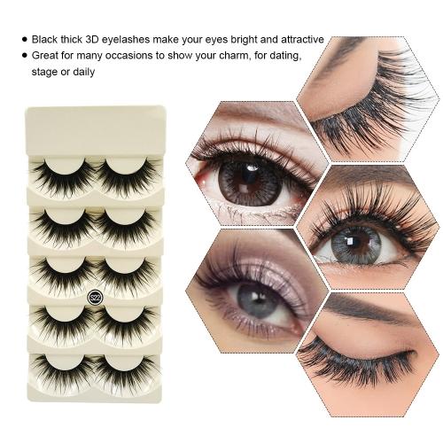 5 Pairs False Eyelash Long Black Thick Fake Lashes Natural Soft Makeup Eye Lashes Cross Handmade False Eyelash W6004-2
