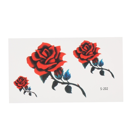 Съемные водонепроницаемые временные наклейки татуировки Череп Роуз Цветочный тотем Перо Body Arm Art Decoration
