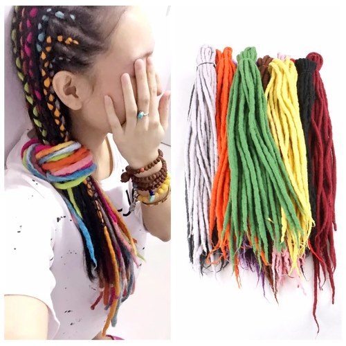1 Pack 10 PCS Handmade Dreadlocks Extensions Fashion Reggae Crochet Hip-Hop Synthetic Dreads Crochet Braiding Hair 24#