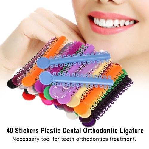 40 Pcs High Elasticity Dental Ligature Ties Elastic Rubber Braces Dental Stickers for Teeth Orthodontic Treatment