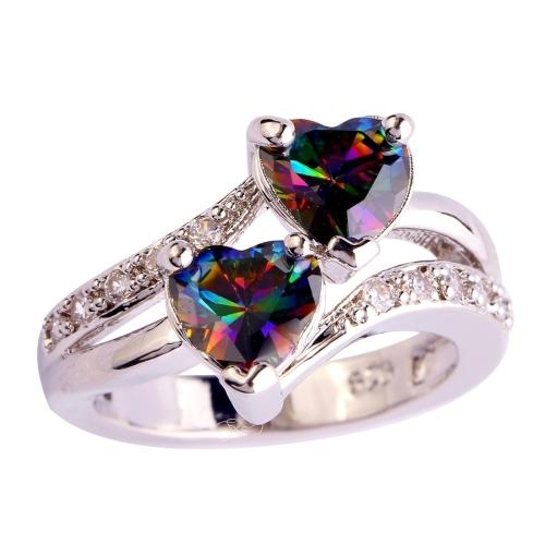 lingmei Fashion Lover Jewelry Corte del corazón Arco iris y topacio blanco Anillo de plata de la piedra preciosa Talla 13