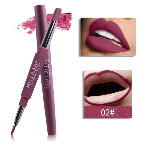 Новый макияж макияжа макияжа 2017 года для женщин Длительный пигмент Красный голый маникюр с двойным концом с матовой миской Rose Lipstick 1