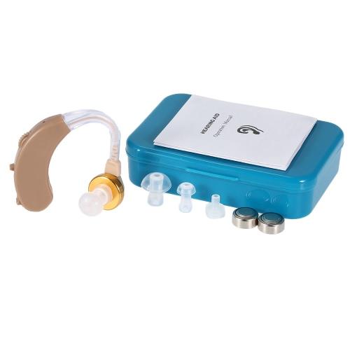 Mini atrás ouvido Digital som amplificador auditivo com transporte caso Kit com tampões de baterias botão do auricular de gancho