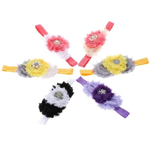 6pcs Colorful Flower Baby Girl Hair Band Kids Ribbon Lace Petal Headwear Hair Bandeau