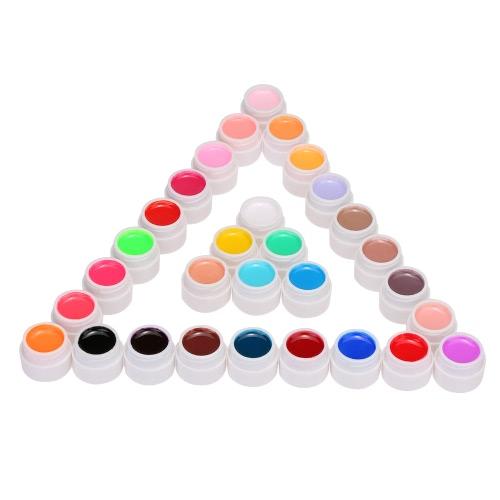 Anself 30pcs Mix reine Farben-Nagel-Gel-Polnisch-Erweiterung Profi UV Gel Set Builder Gel für Nagellack-Nagel-Kunst-Dekorationen Werkzeuge