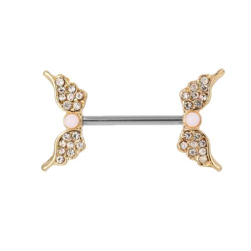 Aço inoxidável asas do anjo bico do Bar Anel Barbell Escudo Body Piercing jóias para homens e mulheres