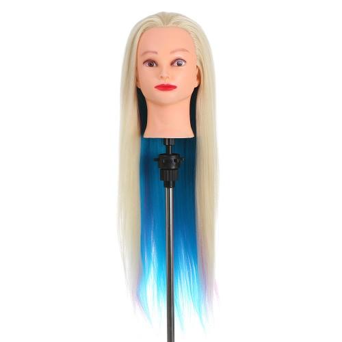 Глава Красочные Manikin Радуга Обучение волос головы манекена с Толстые 70см Длинные Куклы волос Голова Великого Манекен головы для парикмахеров