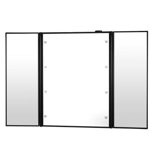 8 LED espejo cosmético plegable del recorrido del maquillaje rectangular Soporte de escritorio espejo para el espejo del lado Tri-portátil de señora Girl Fashion