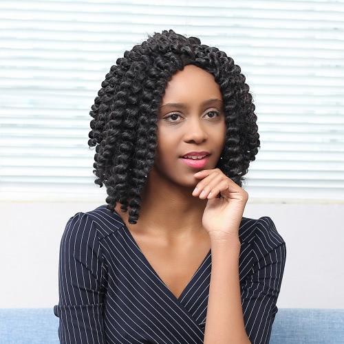 15 '' Женщина черные парики Средний вьющиеся волосы африканских кос парики синтетического волокна парик Shaggy вьющихся волос Парик с кружевной чепчик