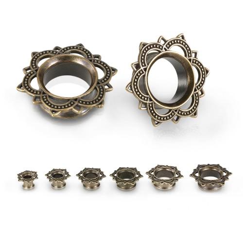1 par de orelha Tunnel plug Expander Flesh Duplo Flared oco Ear Maca 8-18mm Body Piercing Jewelry