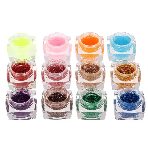 12 Farben Professional Glitzer Powder UV Gel Nail Art Gel Polnisch Verlängerung Gel Set Builder Gel für Nail Lack Nail Art Dekorationen Werkzeuge