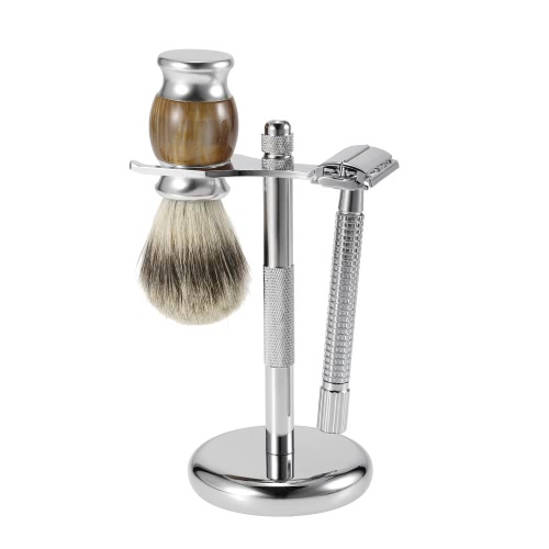 3 em 1 Men's Shaving Razor Set Pure Badger Shaving Brush + Alloy Barbear Stand + Double Edge Razor Male Facial Raspagem e limpeza ferramenta