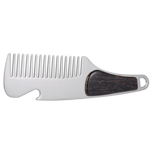 Peine de barba de acero inoxidable peine de afeitar de los hombres mini bolsillo portátiles cepillo de bigote masculino abridor de botellas