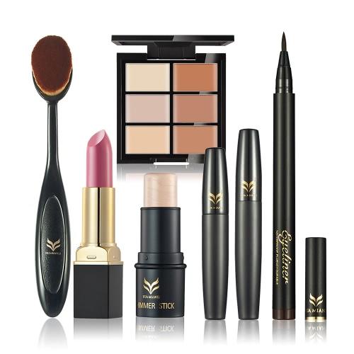 Huamianli 6Pcs Cosméticos Kit Corrector Lápiz Labial Eyeliner Pen Mascara Highlighter Shimmer Stick Fundación Cepillo Maquillaje Set