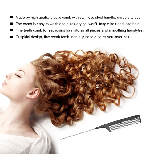 Salon Hair Plastic Hair Cutting Comb Stainless Steel Comb Handle Professional Barber Hairdressing Comb