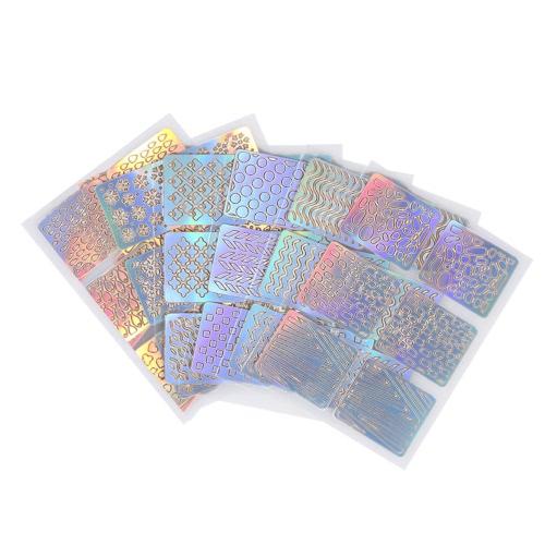 6 teile / satz Nagel Maniküre Aufkleber Mischmuster Französisch Nagel Hohl Grid Schablone Stamping Schablone Nagelkunstwerkzeuge