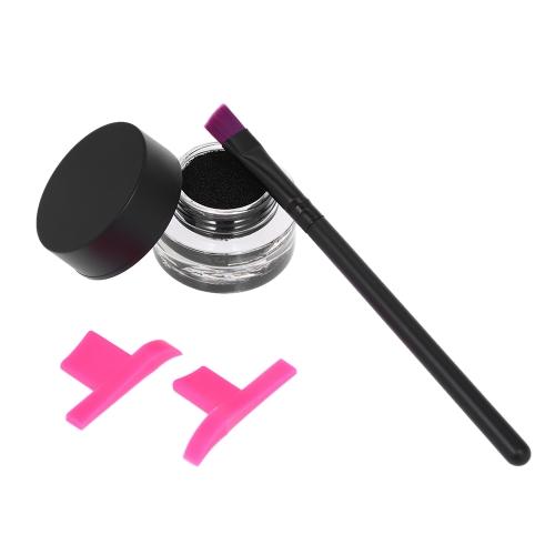 3 teile / satz Make-Up Set Flüssigen Eyeliner Tinte Flügel Eyeliner Briefmarken Abgewinkelt Pinsel Kosmetik Kit Wasserdicht Schwarz