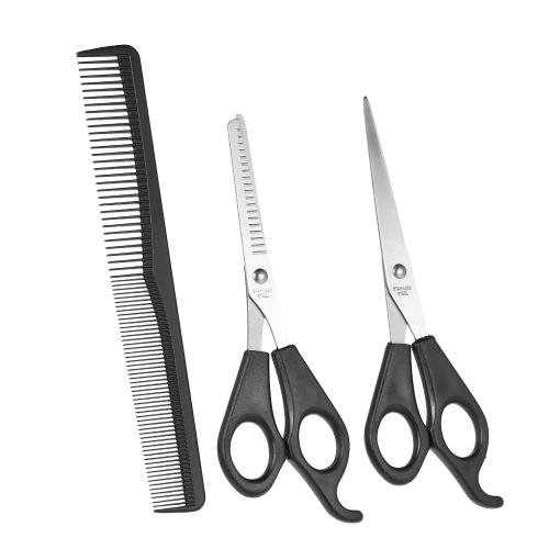 3Pcs / set Hair Cutting Thinning Scissors Set Hair Scissors Набор для расчесывания волос Профессиональные парикмахерские ножницы с расческой для волос фото