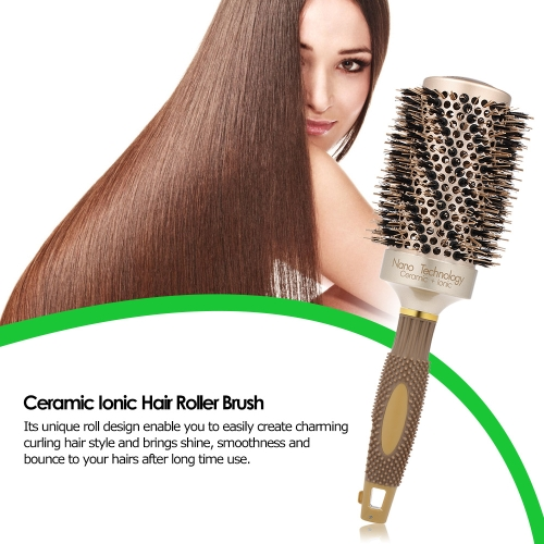 Professional Hair Salon Brush Ceramic Ionic Hair Roller Brush Nano Thermal Hair Styling Round Comb High Temperature Resistant