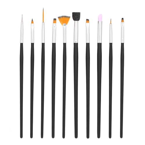 10 шт Nail Art Brush Set УФ-гель-кисть Nail Carving Скульптура Тиснение Pen УФ-гель Польский Dotting Brush Инструмент для маникюра DIY