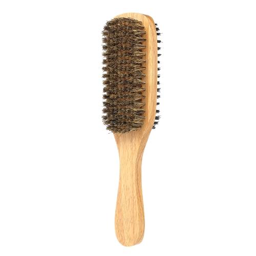 Мужская бородка Кисть Двусторонняя лицевая щетка для волос Расческа для бритья Мужская щетка для усов Твердая деревянная ручка Дополнительный размер