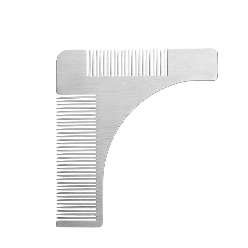 Stainless Steel Beard Comb Beard Shaping Brush Beard Styling Comb Template Grooming Kit Facial Hair Trimmer for Jaw Line Cheek Neck Goatee W6083