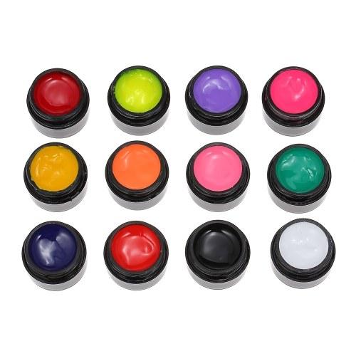 12 Farben UV Gail Nagellack Nagelkleber 3D Perfekte Gel Nail art Pigment Set UV Gelpoliermittel Feste Kleber