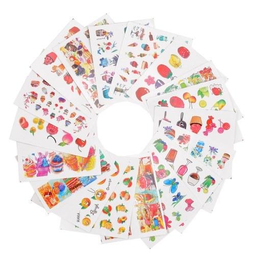 18 Sheets Nail Sticker Set Mixed Butterfly Flower Pattern Nail Paper Tip Nail Art Styling Set DIY Water Transfer