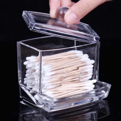 Clear Acrylic Q-tip Cotton Swab Box Case Makeup Storage Organizer Holder