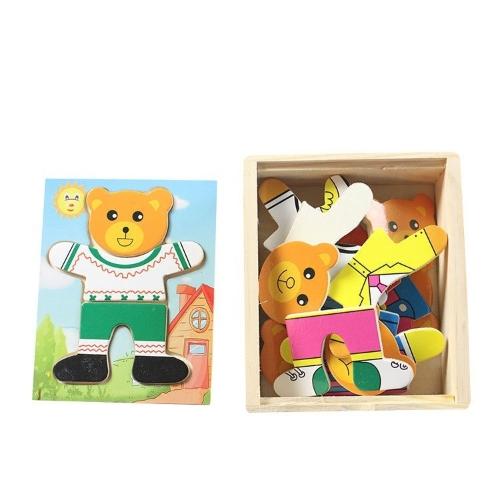 Hölzerne Babybärenkinder ändern den Kleidungsjungenbaby-Puzzlespielpuzzelbaustein 1-2-3-4