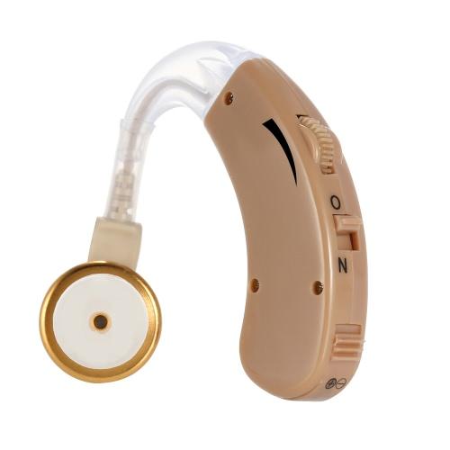 Behind Ear Sound Amplifier Digital Hearing Aid with Earplugs Volume Adjustable Audiphone Mini Brown