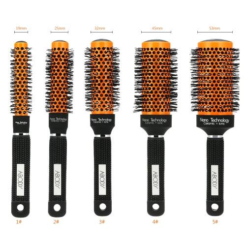 Abody Ceramic & Nylon Hair Round Brush Quiff Roller Comb