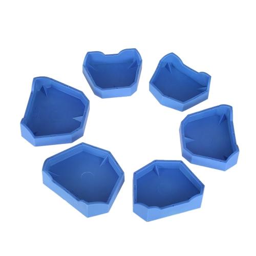 6pcs Dental-Modell Base Set Dentallabor Ehemalige Basis-Kit Dental Mold Putzgrund Große Mittel Small Size Blau