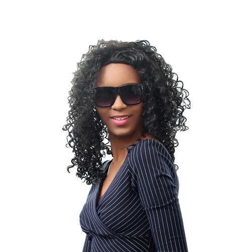 17 '' Женщина Длинные вьющиеся волосы парики синтетического волокна парик завитые Shaggy парик женщина черные парики моды с кружевной чепчик