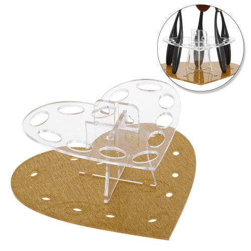 オーバルメイクブラシホルダーは、乾燥オーガナイザーアクリル12ホールハートハンギング歯ブラシ化粧ブラシスタンド