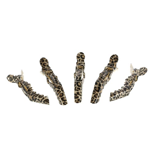Anself 5Pcs Crocodile Haar Sectioning Grip Clips Croc Hair Clips Schellen Friseursalon Schellen Leopard-Plastikhaar-Styling-Werkzeug