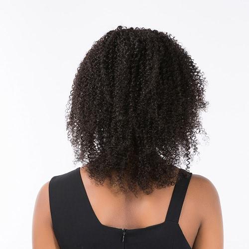 15「女性ウィッグショートカーリー波状ブラック高温度ファイバーウィッグヘアピースコスプレパーティー女性ウィッグ
