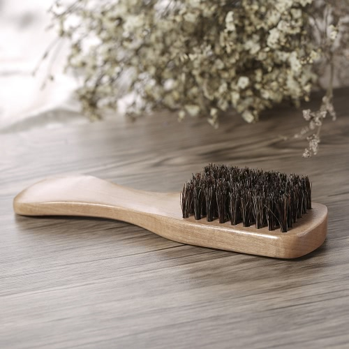 Men's Beard Brush Boar Bristle Mustache Shaving Comb Brush Facial Hair Brush Beech Long Handle W4274