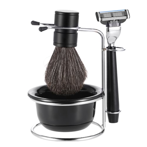 4 in 1 Men's Shaving Razor Set Badger Shaving Brush + Shaving Stand + Shaving Soap Bowl + Razor Male Facial Shaving & Cleaning Too
