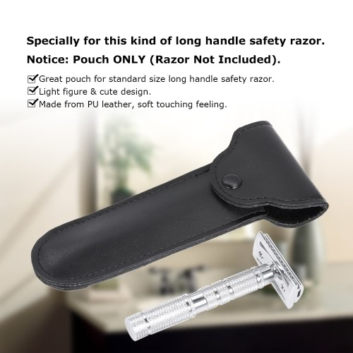PU Leather Razor Pouch Handle Straight Long Safety Razor Case Long Handle Double Edge Razor Holder
