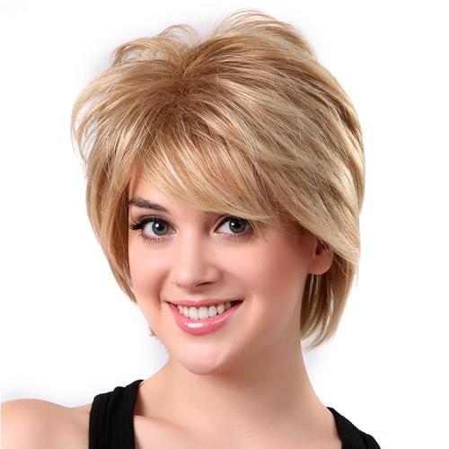 11 '' Pelucas de mujer peluca recta corto Peluca de pelo humano real resistente al calor de oro de la mujer
