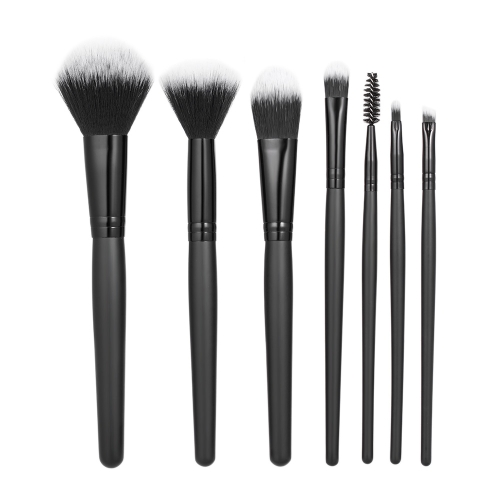 7 teile / paket Make-Up Pinsel Werkzeug Set Professionelle Kosmetik Kit Foundation Pulver Concealer Erröten Lidschatten Schwarz