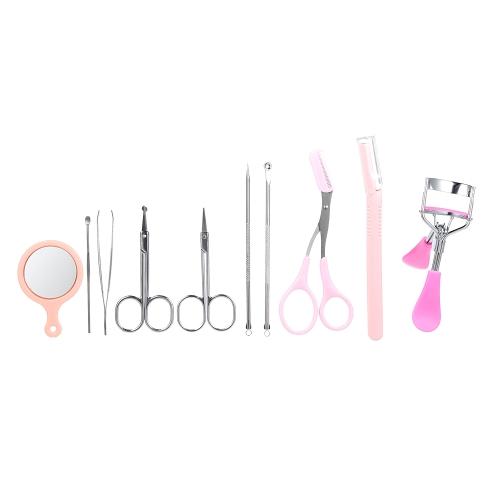 10 unids / set Kit de herramientas de ceja Pinzas Trimmer Tijeras Razor Eyelash Curler Mirror Earpick Pin Extractor de acné