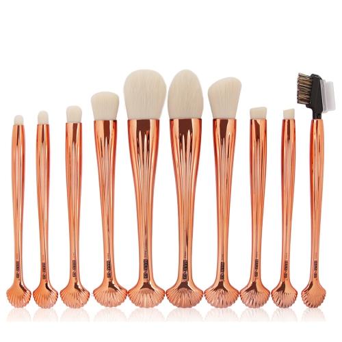 10 stücke Shell Kosmetik Make-Up Pinsel Set Foundation Power Contour Lidschatten
