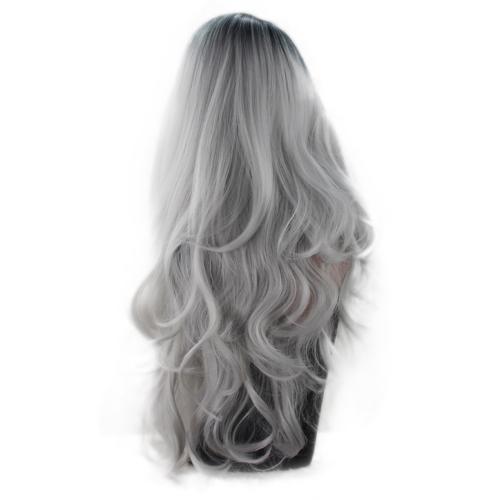 Silbernes graues Färbungs-Dame Long Curly Hair Europa Amerika Perücke Temperament