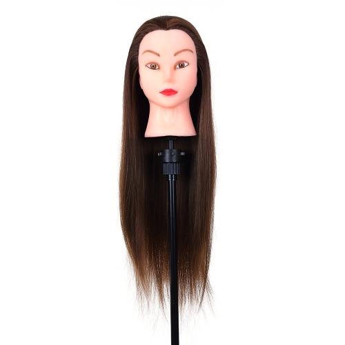 24インチのマネキンヘッド美容練習用頭髪練習用毛髪編み用高温繊維頭モデル用ダミーヘッド