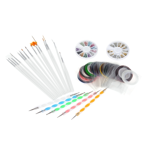 Nail Art Kit Nail Brush + Dotting Pen + Striping Tape + Nail Rhinestones + 3D Nail Sticker Manicure Tool Set